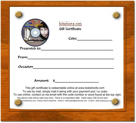 Gift Certificate download